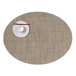 Mini Basketweave Set of 4 oval placemats, 36 x 49cm, linen