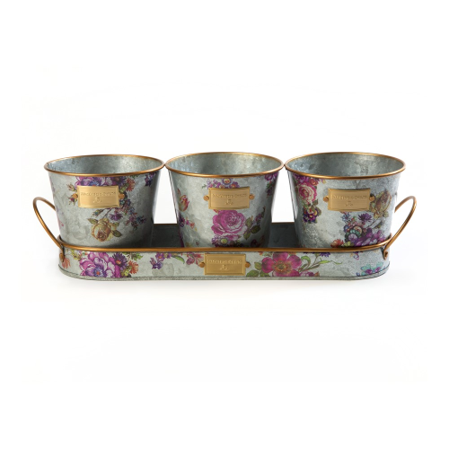 Flower Market Herb pots with tray, W32 x D10 x H3cm, Silver
