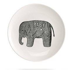 Baby Elephant Plate, Dia20cm, black/white