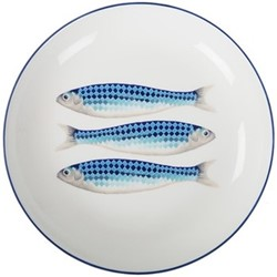 Harlequin Blue Low serving bowl, W31 x H5cm, blue/white