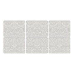 Pure Morris - Strawberry Thief Set of 6 placemats, 30.5 x 23cm, grey/white