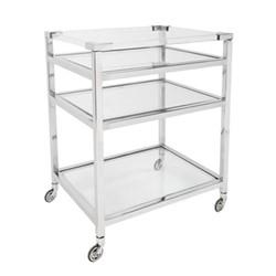 Seymour Bar trolley, W60 x H81 x D45cm, chrome/silver