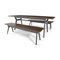 Jensen 6-8 seat extending dining table and 2 benches, H75 x W170 x D90cm, dark oak and grey