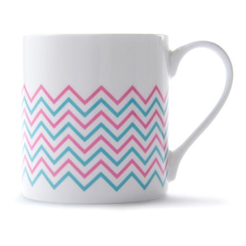 Wave Mug, H9 x D8.5cm, Pink/Turquoise