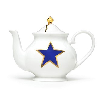 Lucky Stars Small teapot, H13 x W18  x D10cm, crisp white,cobalt blue, fine bone china, 22kt burnished gold details