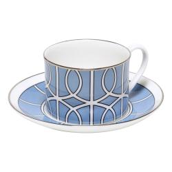 Loop Teacup and saucer, H8.4cm - Saucer 15cm, Cornflower Blue/White (Silver Rim)