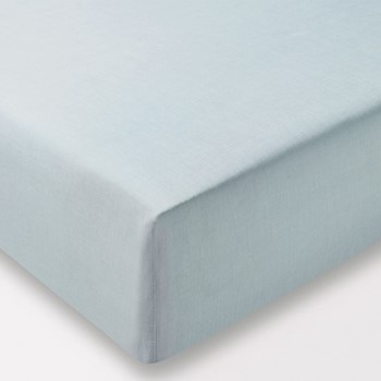 Chambray Double fitted sheet, L190 x W140 x H34cm, eucalyptus