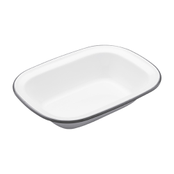 Living Nostalgia Rectangular pie dish, 18cm, White Enamel