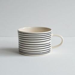 Horizontal Stripe Set of 6 mugs, H7 x W10.5cm, graphite