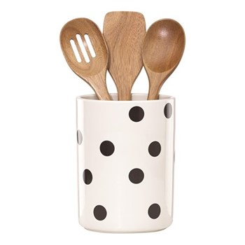 Deco Dot Utensil crock with 3 wooden utensils, H20.32cm, white and black
