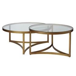 Opplyst Set of 2 coffee tables, D100 x H45cm, bronze