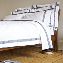 Xero - 400 Thread Count King size duvet cover, W230 x L220cm, steel on white sateen cotton