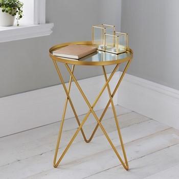 Side table, L38 x W38 x D52cm, gold