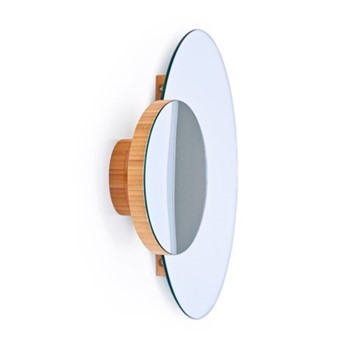 Eclipse Wall mirror, H45 x W55 x D10cm, bamboo/mirrored glass