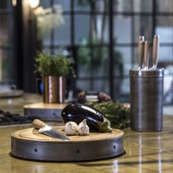 Industrial Kitchen Round butchers block, 36 x 5cm, Mango Wood