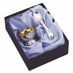 Child's egg cup and spoon, sterling silver