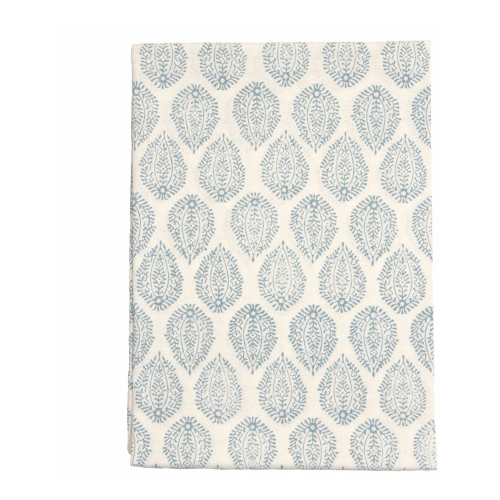 Leaf Round tablecloth, 180cm, Blue Cotton