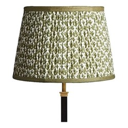 Straight Empire Block printed lampshade, 30cm, temple green