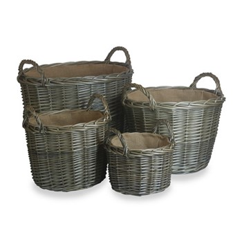 Antique Wash Set of 4 round lined log Baskets, D51 x H41cm, antique wash