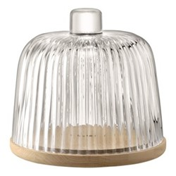 Pleat Dome and oak base, 22 x 24cm, clear