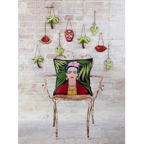 Frieda Kahlo Cushion, 46 x 46cm, Cream