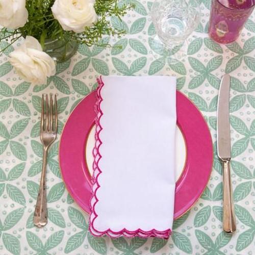 Scalloped Edge Napkin, 45 x 45cm, Pink Cotton
