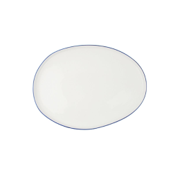 Abbesses Small platter, 34 x 25.5cm, Blue Rim