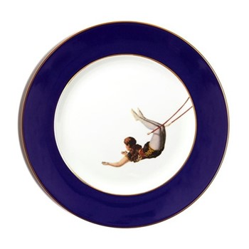 The Girl Dinner plate, 27cm, crisp white with cobalt blue border/burnished gold edge