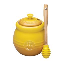 Stoneware Honey pot and dipper, 450ml, Dijon