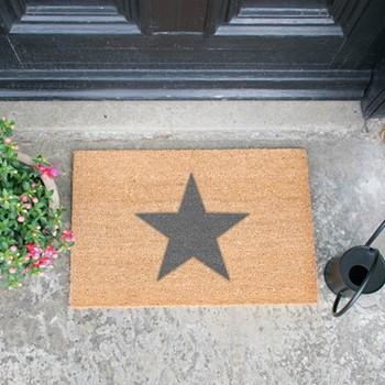 Star Doormat  , L60 x W40 x H1.5cm, grey
