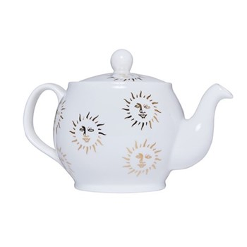 Sun Teapot, 1.1 litre, white and gold