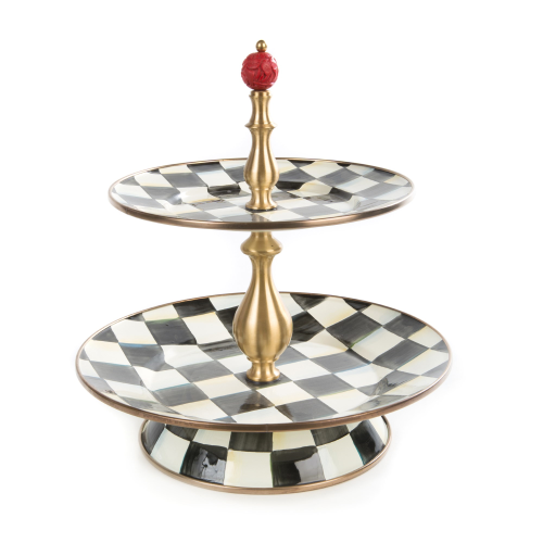 Courtly Check 2 tier sweet stand, 26 x 28cm, Enamel