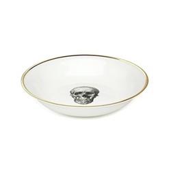 Skull Bowl, 18cm, crisp white/burnished gold edge
