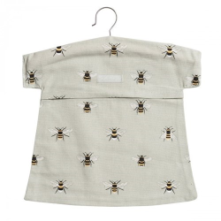 Bees Peg bag, 30 x 30cm, grey