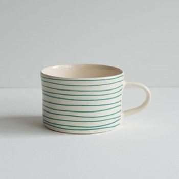 Horizontal Stripe Set of 6 mugs, H7 x W10.5cm, mint