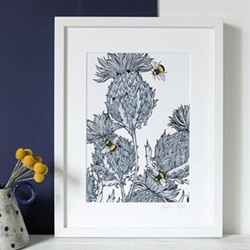 White Trio Thistles With Bees Mounted print, 32.5 x 43cm, white frame