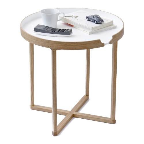 Damien Round table, H45 x W45 x D45cm, White/Oak