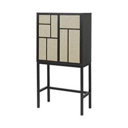 Air Sideboard cabinet, 80 x 38 x 144cm, black/cane