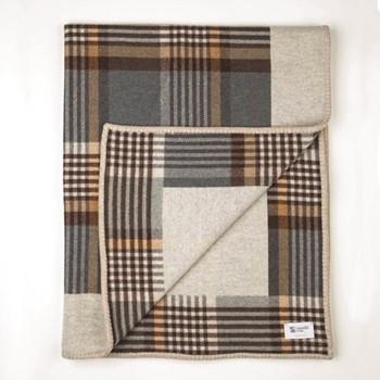 Glen Blanket Stitched Lambswool woven throw, 170 x 135cm, denim