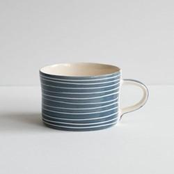 Sgrafitto Stripe Set of 6 mugs, H7 x W10.5cm, teal