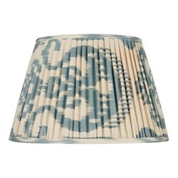 Ikat Silk lampshade, H20 x Dia30cm, Blue/Cream