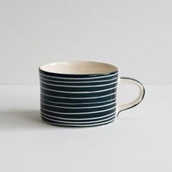 Sgrafitto Stripe Set of 6 mugs, H7 x W10.5cm, graphite