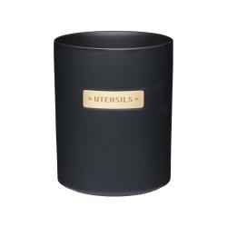 Utensil holder, H15 x D12cm, black stoneware