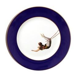 The Girl Dinner plate, 27cm, crisp white with cobalt blue border/burnished gold edge