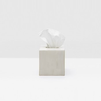 Arles Tissue box, H15cm, white faux horn