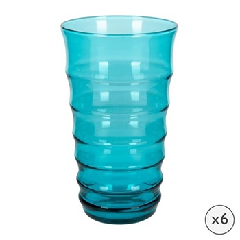 Orbit Set of 6 highball glasses, H15 x W9 x L9cm, aquamarine