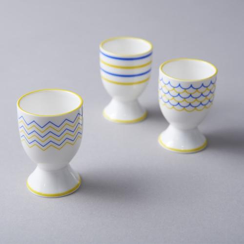 Drift Egg cup, H6.5cm, Yellow/Blue