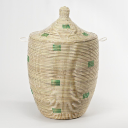 Alibaba Laundry basket, 80 x 43cm, natural/mint squares