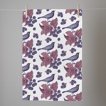 Blackbird & Bramble Tea towel, 50 x 70cm, white/purple/pink