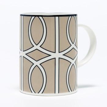 Loop Mug, 10.2 x 7.6cm, truffle/white (black rim)